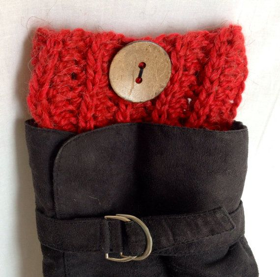 Crochet Ribbed Boot Cuffs - Red Alpaca with Coconut Buttons on Etsy, $29.99 CAD