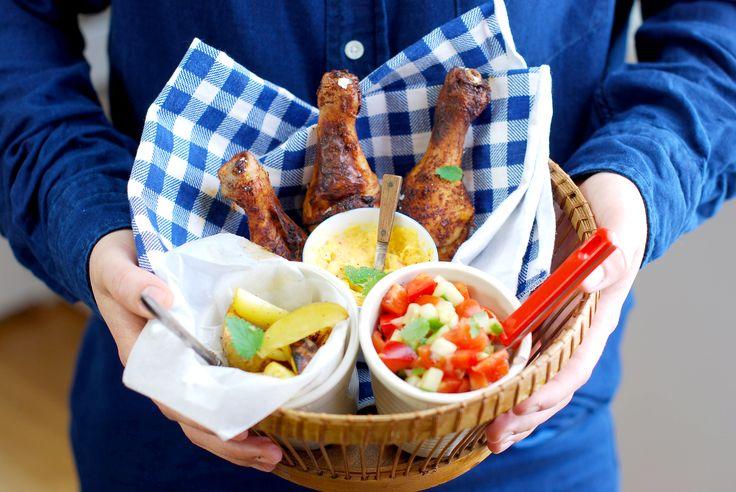 BBQ-kyckling med rostad majsröra