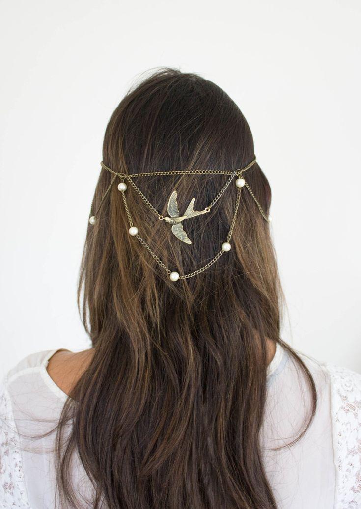 Cadena para la cabeza con pájaro y perlas    Corona de Papel Accesorios