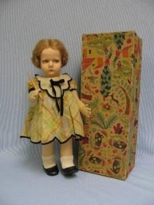 "16"" 1928 Lenci Felt Doll Italy La Profesora Original Box Teaching Baton"