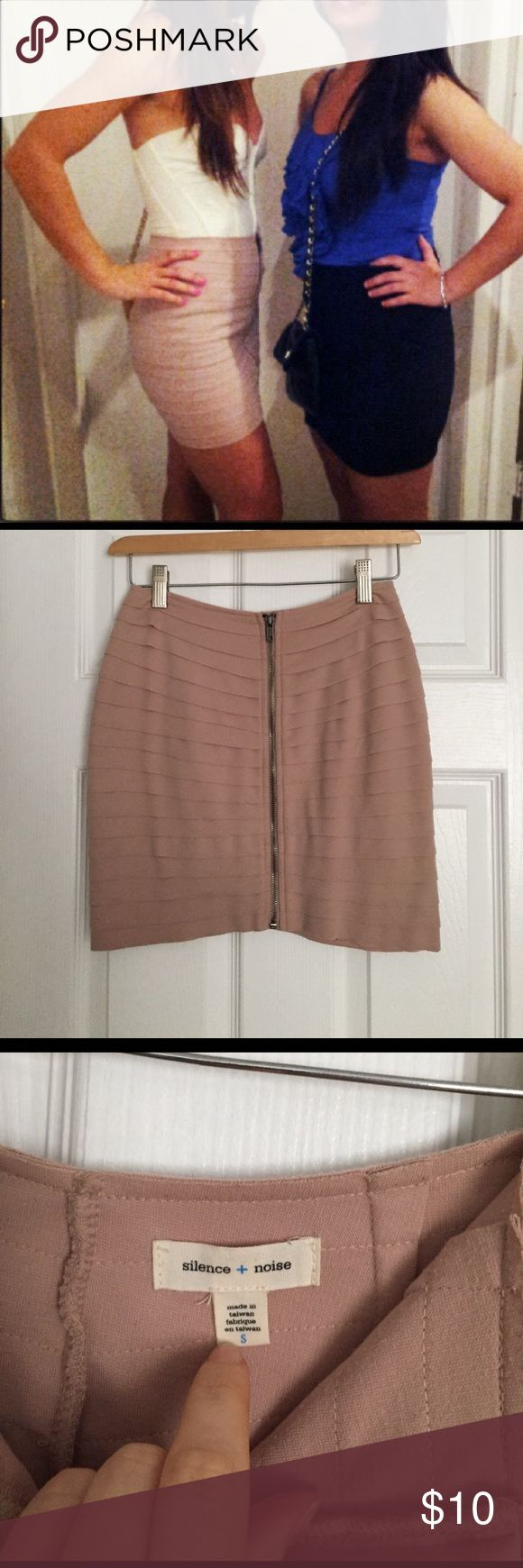 Nude zip up skirt Size small very very flattering on the hips/butt. Worn a few times but still in good condition. Once worn you can't tell much of the little fuzzy thing on the back. I zoomed in to take pic. Purchased either from Nordstrom or urban outfitters (can't remember right now lol). By the way I'm also selling that white top. It's. Y Parker and it's 100 % silk. Go check it out!! Skirts Mini