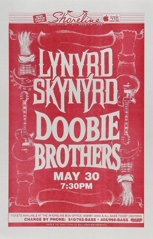 Vintage, retro, hippie classic rock poster - Lynyrd Skynyrd and Doobie Brothers