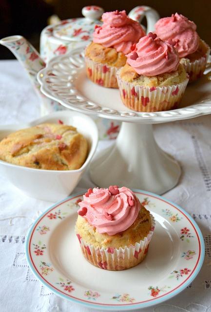 Dolci - Cupcake alla ricotta, bacche di Goji e sciroppo d'acero.