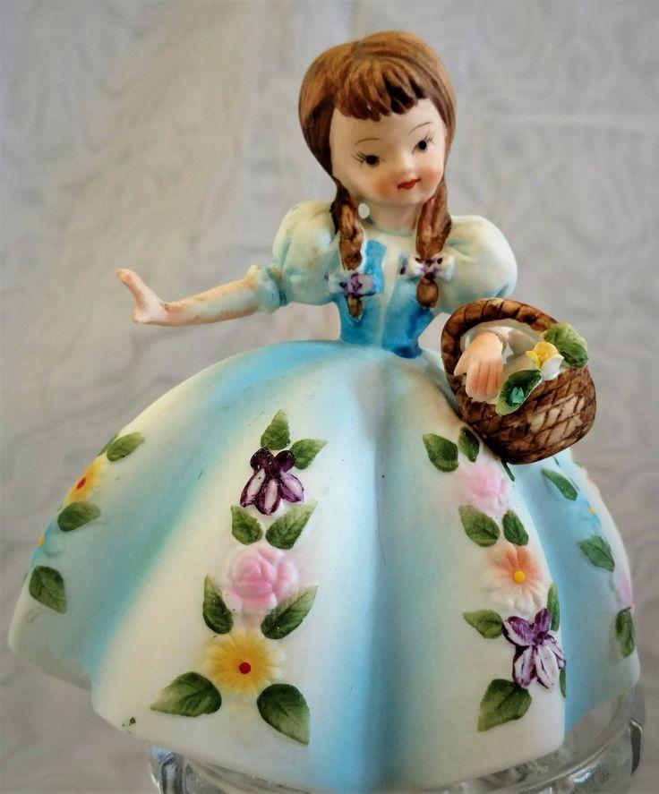LEFTON Flower Girl, 1940s Vintage, KW5154, Wedding, Flower Girl Gift, Girl's Room Decor, Birthday Gift, Ceramic Bisque by SusyQsVintage on Etsy