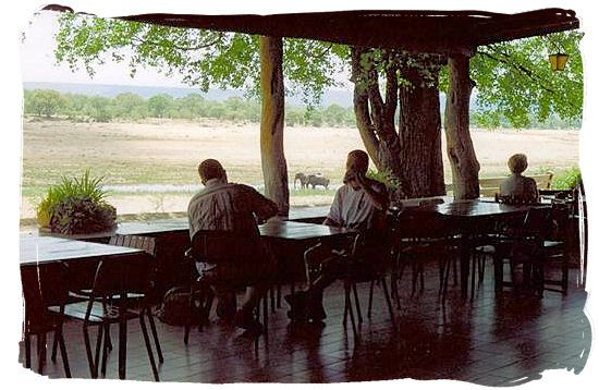 View across the Letaba riverbed from the cafeteria.