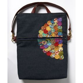 The Bohemian Fold-over Bag. The applique embellishment is stitched-down quilting-fabric circles. With pattern
