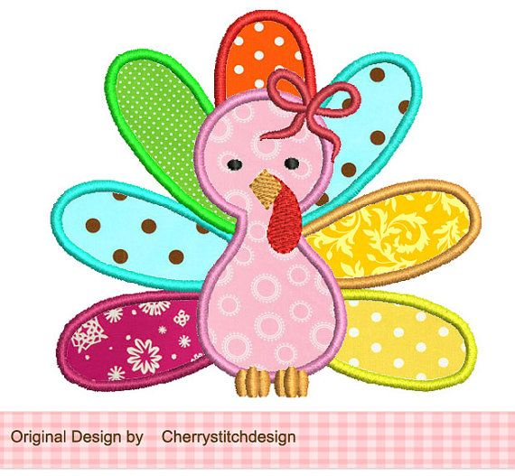 Thanksgiving Girly Turkey Applique -4x4 5x7 6x10 Machine Embroidery Applique Design on Etsy, $2.99