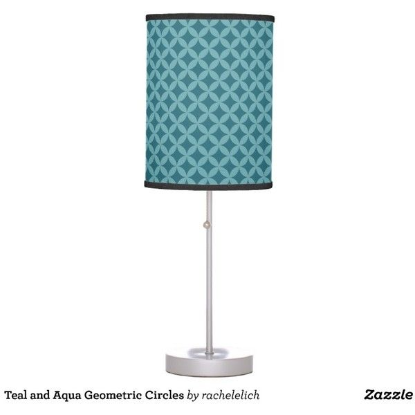 Teal and Aqua Geometric Circles Desk Lamp ($50) ❤ liked on Polyvore featuring home, lighting, desk lamps, aqua lamp, colored lamps, aqua colored lamps, teal desk lamp and teal lights
