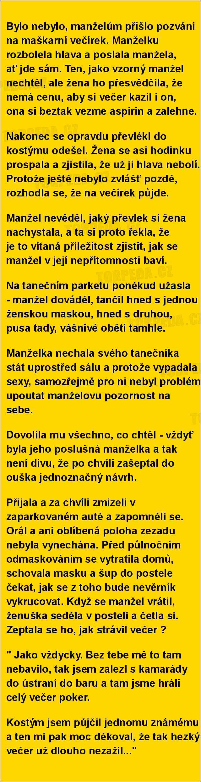 Bylo nebylo, manželům přišlo pozvání na maškarní večírek.... | torpeda.cz - vtipné obrázky, vtipy a videa