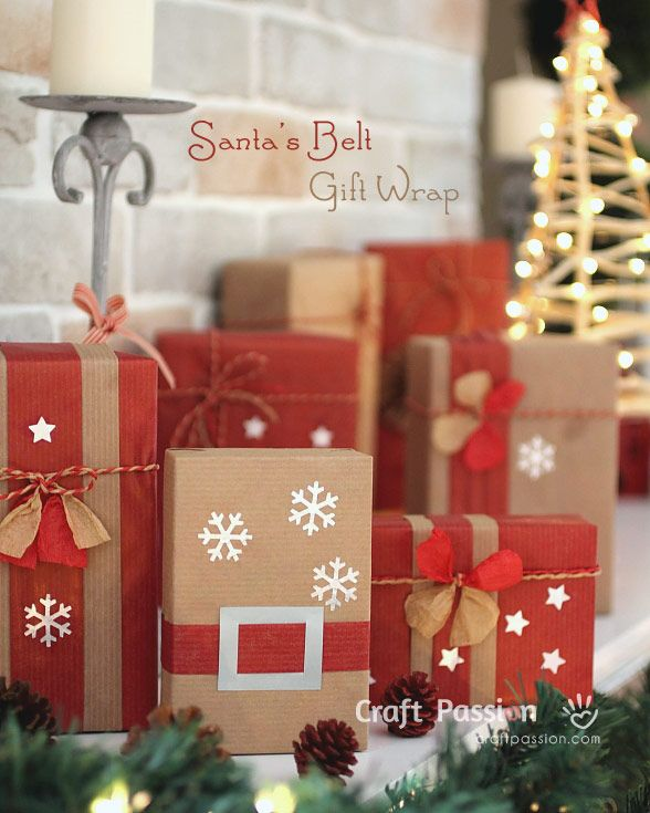Gift Wrap | Santa Belt And Snowflakes | Free Pattern  Tutorial at CraftPassion.com
