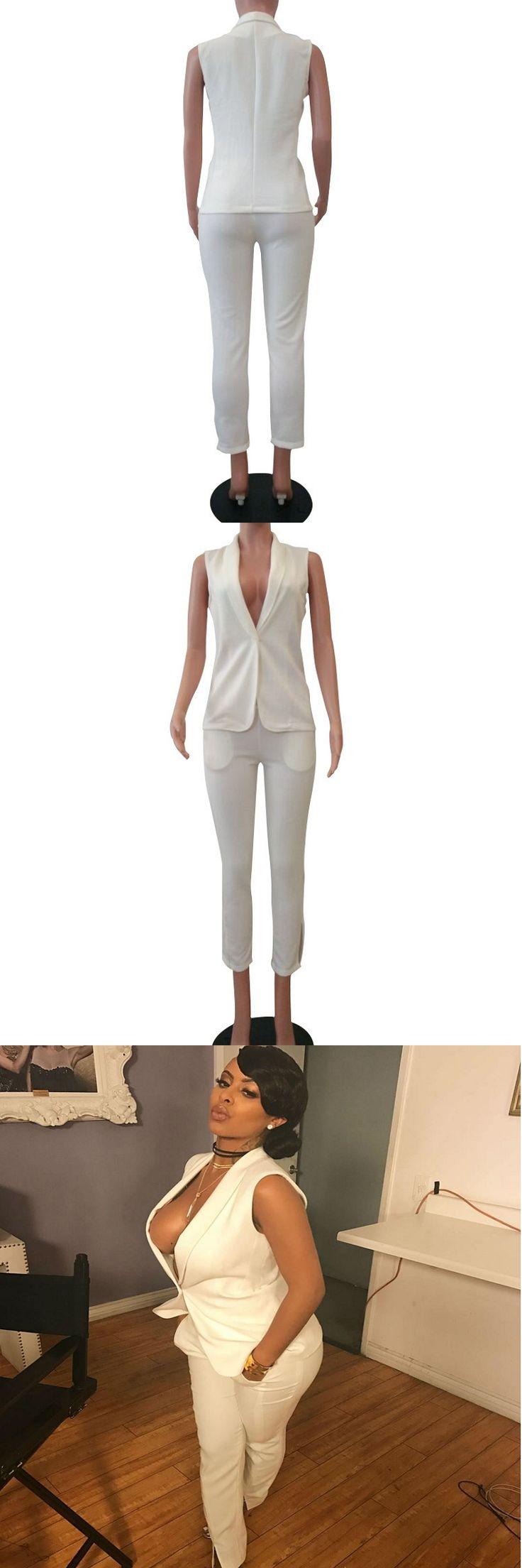 White Two Piece Set Women Vest Blazer Pants Suit Sexy Elegant Overalls 2017 Summer Formal Office Lady Work Wear Mono Mujer