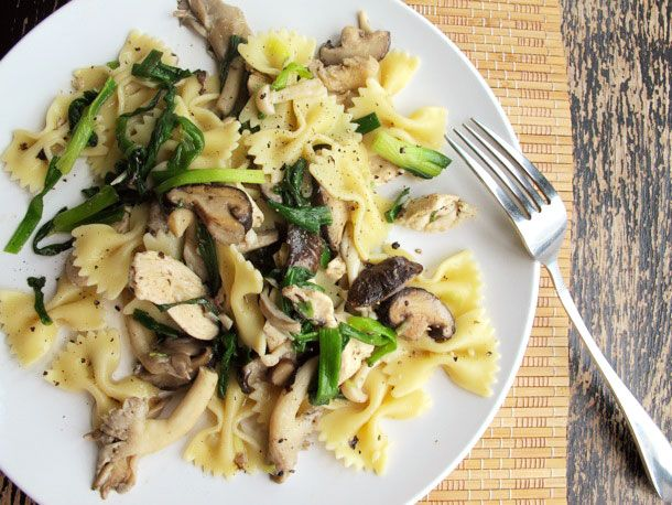 Dinner tonight - chicken, mushrooms, scallions and pasta