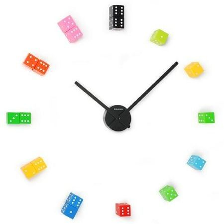 diy dice wall clock -- could use Hot Wheels cars or Legos instead for boys' bedroom!