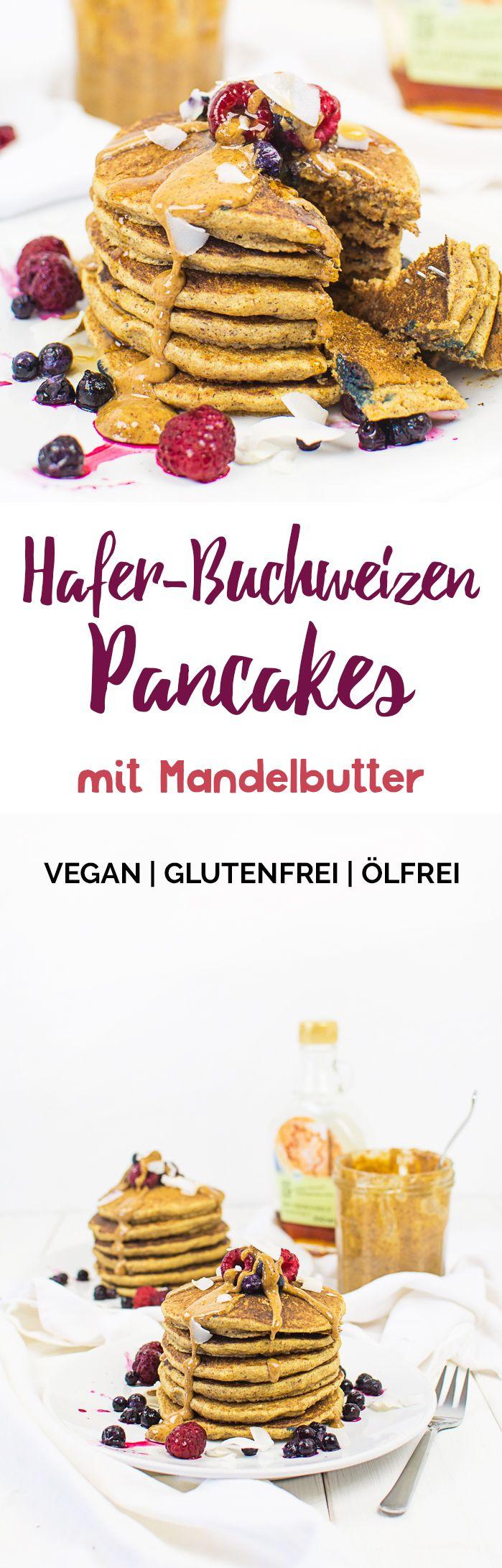 Hafer-Buchweizen-Pancakes mit Mandelbutter (vegan, glutenfrei, ölfrei) | Kaffee & Cupcakes