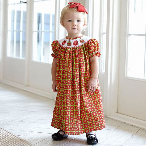 Girls Red Green Ornaments Smocked Bishop Dress – Lolly Wolly Doodle
