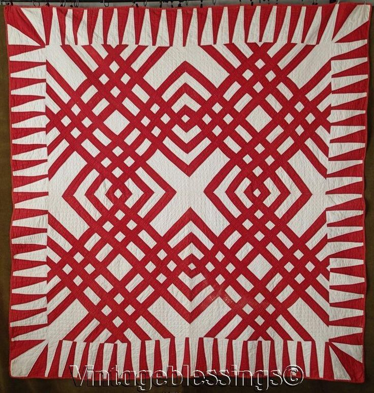 """A beautiful, graphic antique quilt. This quilt has a rich turkey red on a soft white background. Very nice condition with one small area of surface wear to the red, there are a few other spots of light surface wear, two small repairs, one is about 1"""" and the other is a little smaller, and there are a couple light spots noted.   eBay!"""