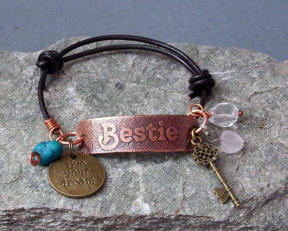 BESTIE Hand Etched Copper & Leather Bracelet Name Word Friendship Spirit Yoga Custom Leather Inspirational Motivational Gift Birthday