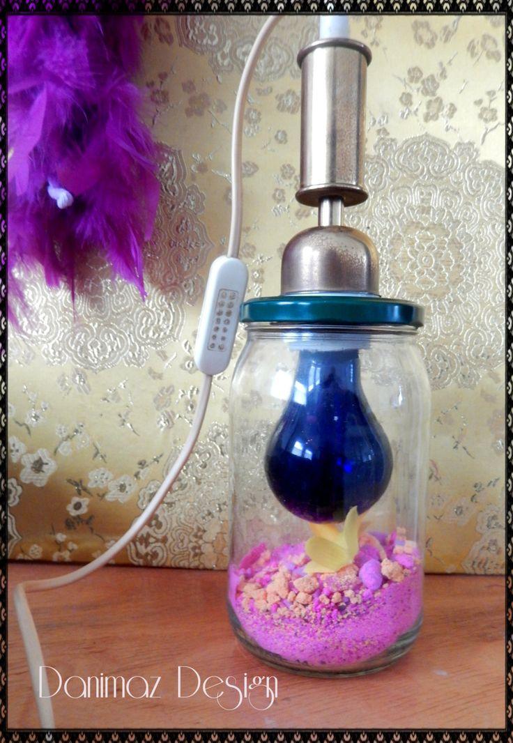 Amazing fluorescent sand and UV - light lamp! handcrafted by danimazdesign su Etsy
