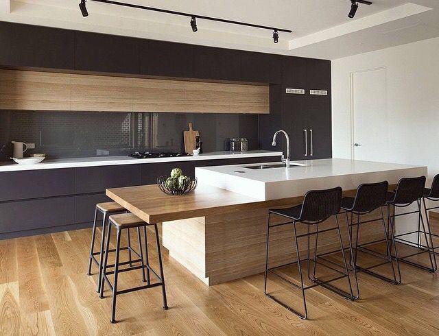 Timber panelled kitchen