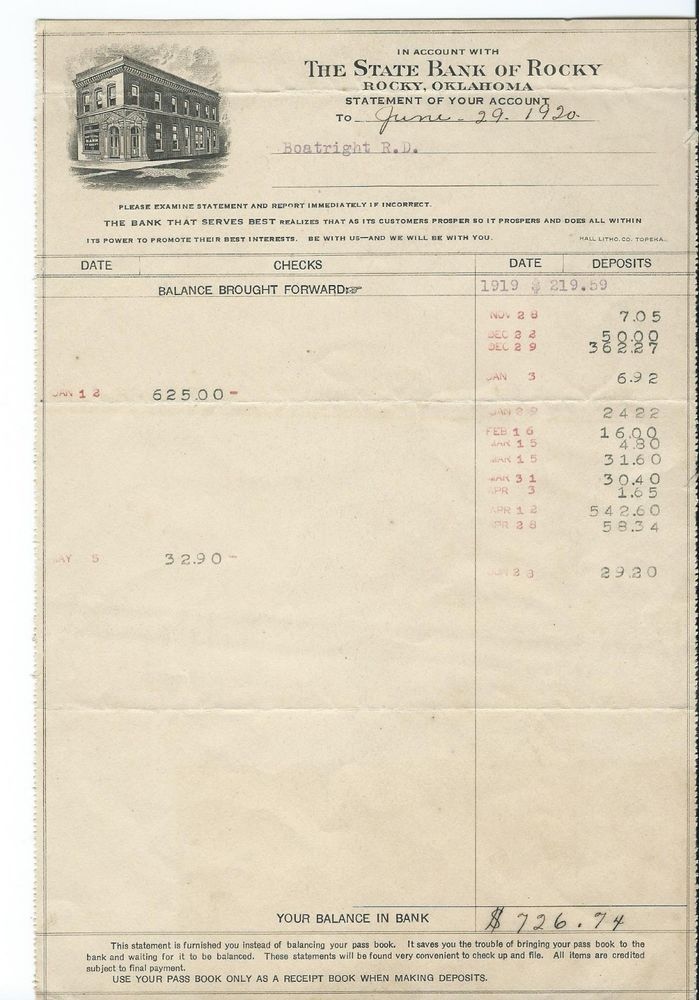 1920 Bank Statement The State Bank Of Rocky Oklahoma Ok For R D