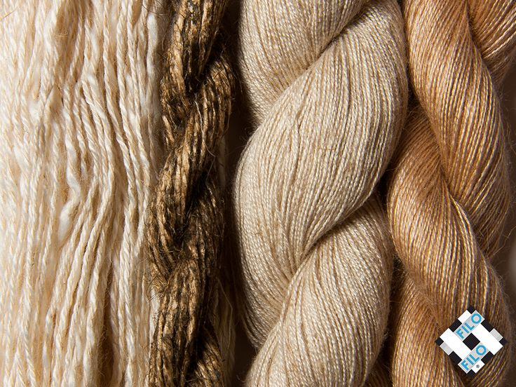 All natural yarns or in mainly natural blends, linear, twisted, and yarns with a rather rustic look.