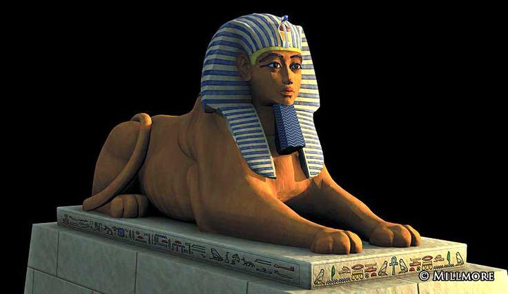 Luxor Tempel bemalte Sphing Nahaufnahme by discoveringegypt.com