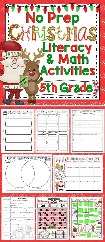 christmas activities 5th grade literacy and math no prep