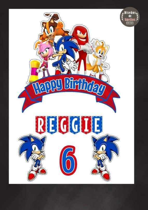 Sonic Cake Topper Sonic Birthday Sonic Party Custom And Printable Sonic Cake Topper Sonic Video Sonic Birthday Sonic Party Sonic Birthday Cake
