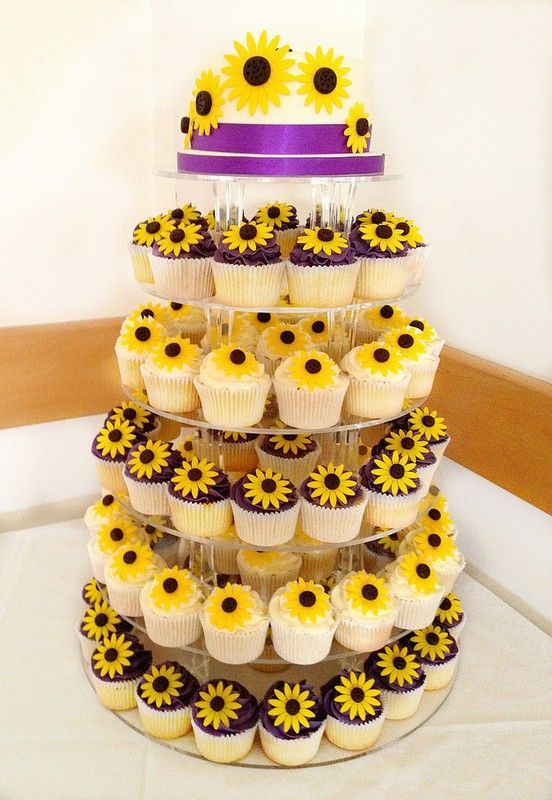 Sunflower Wedding Cupcake Tower #wedding #cake  www.loveitsomuch.com