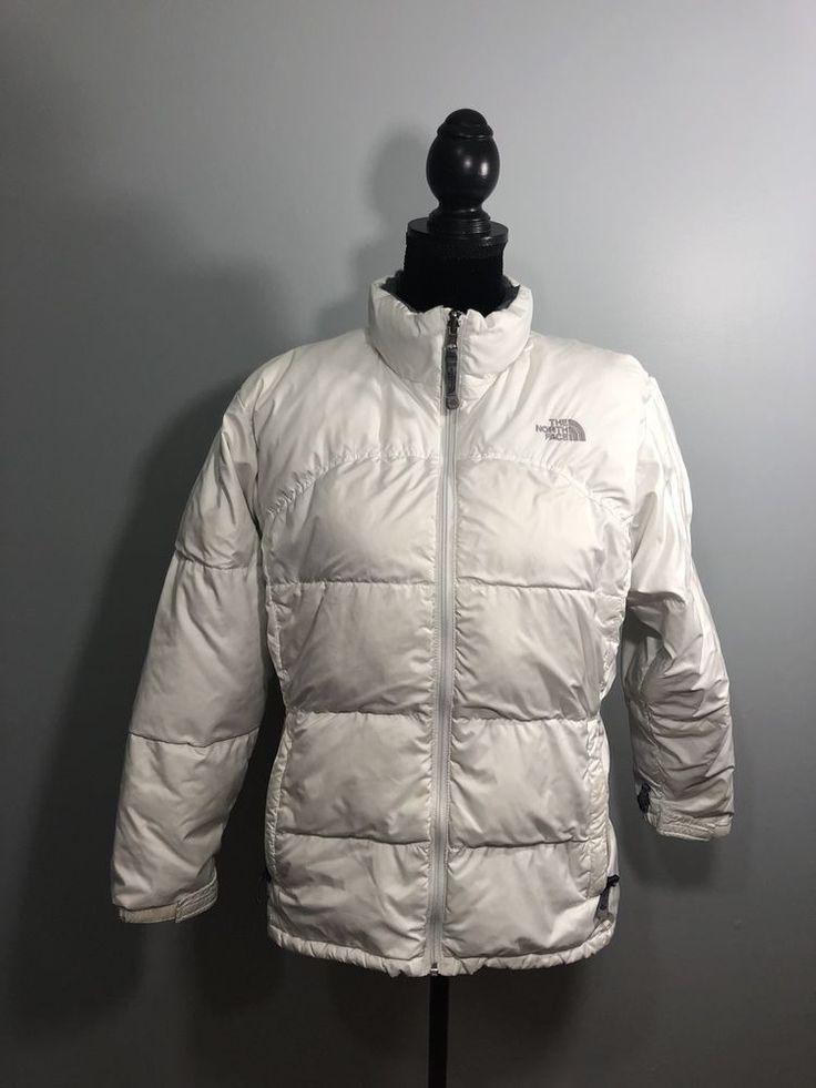 Girls XL North Face Puffer Coat 600 White  | eBay