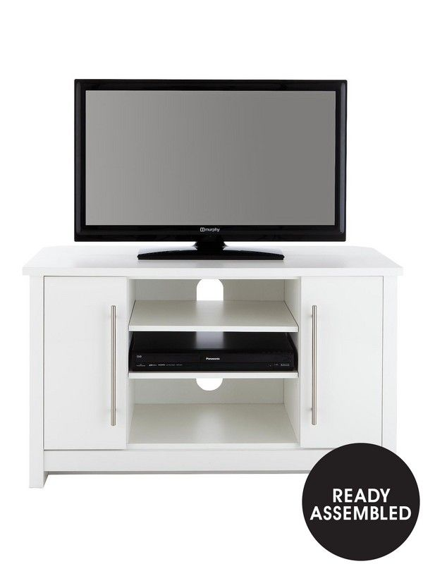 Consort Mono Ready Assembled Corner TV Unit in Black or White with High Gloss Doors - suits televisions up to 42 inchContemporary furniture you don't have to wait to enjoy, this corner TV unit from Consort's Mono range will arrive at your home ready assembled.Its modern style is built around a simple, chunky design in white or black, each of which features a shiny high gloss finish to the doors that catches the light, grabs the attention and reinvents your room.Open shelving space to the…