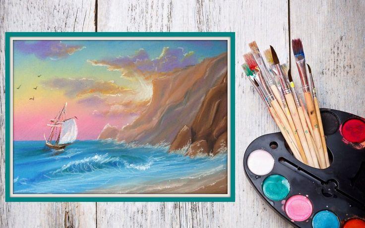 » Уроки рисования! Как нарисовать морской пейзаж ПАСТЕЛЬЮ! #Dari_Art