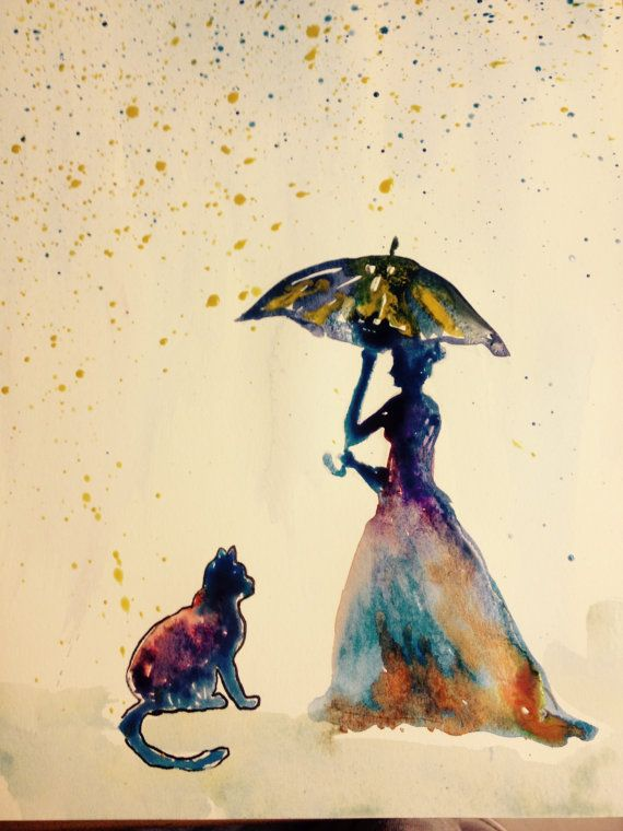 ORIGINAL  Cat and a lady water color by TheArtofMrsThompson