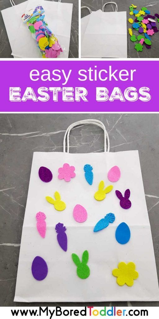 Easy Sticker Easter Bag For Toddlers To Make Easter Crafts For