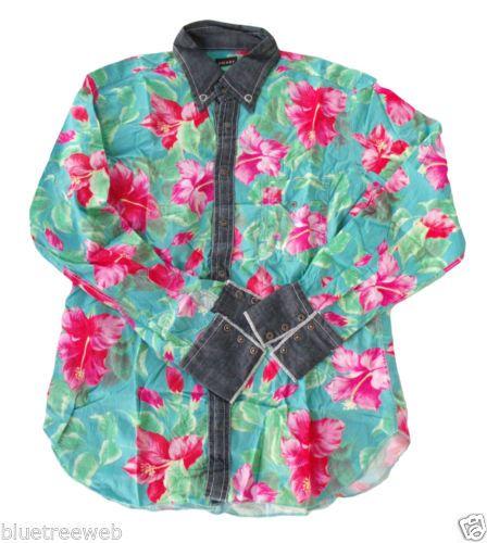 Camicia tg XXL COAST fiori flowers SURFER shirt dettagli DENIM details WESTERN