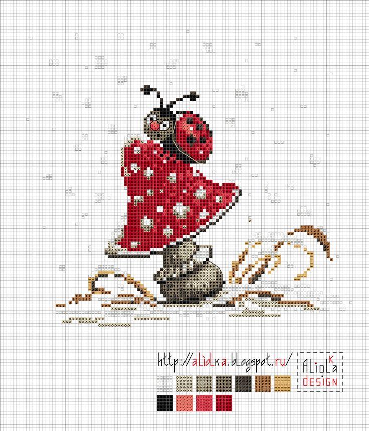 Ladybug cross stitch Aliolka design