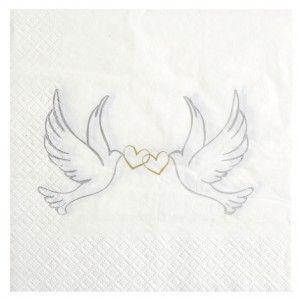 serviettes de table colombes papier blanc cass les 20 mariage et tables. Black Bedroom Furniture Sets. Home Design Ideas