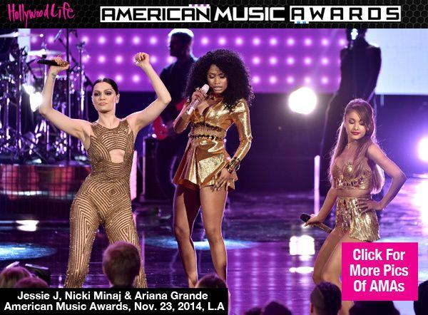 "Did you catch #NickiMinaj, #ArianaGrande, and #JessieJ perform ""Bang Bang"" at the AMAs?"