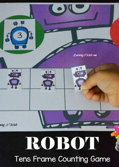 Free Robot Kindergarten Math Tens Frame Counting Game