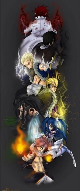 Cobra, Rogue, Sting, Laxus, Gajeel, Wendy, & Natsu. The seven dragon slayers