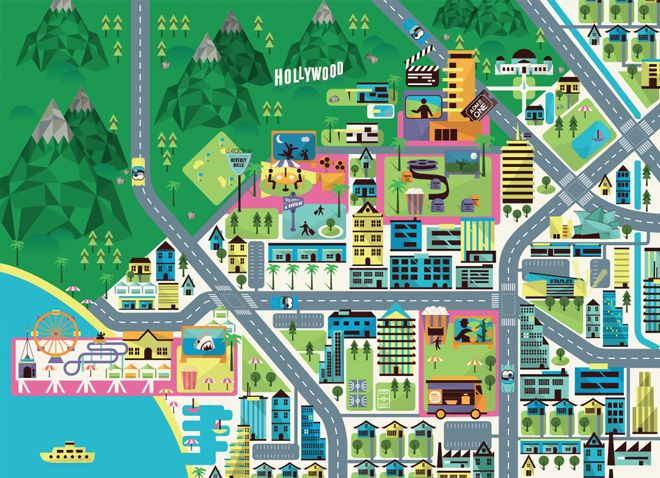 Crush   Hollywood Hills - Map Illustration
