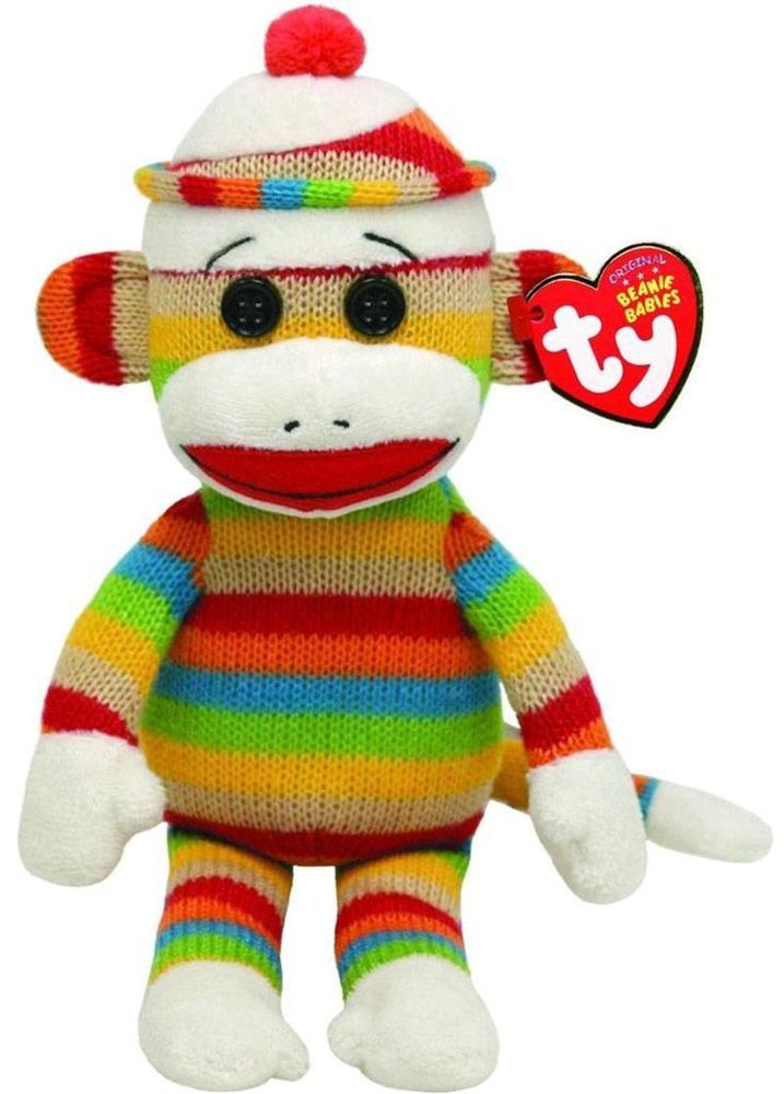 "Ty Beanie Babies Sock Monkey ""Stripes"" Rainbow Colors Stuffed ..."