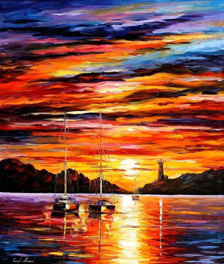 Meer Badezimmer Dekor Hafen Fine Art Ölgemälde auf Leinwand von Leonid Afremov – am Eingang des Hafens. Größe 30 X 36 Zoll (90cm x 75cm)