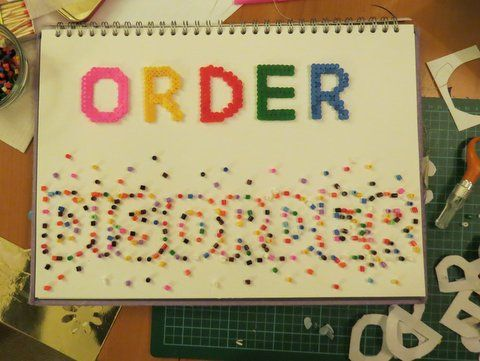 Title page for my new sketchbook, of art GCSE exam title! Made using Hama beads. By Phthalo Green.