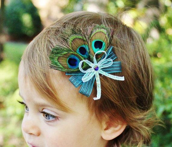 Small Peacock Hair Bow Girl Toddler Baby Peacock
