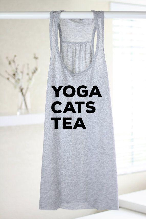 Yoga Cats Tea Womens Yoga Tank Top Yoga Top by ArimaDesigns