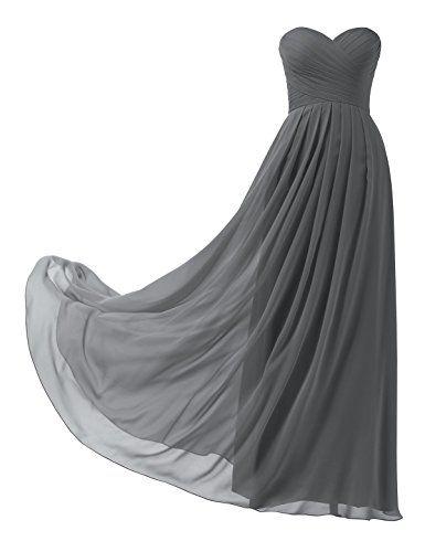 Remedios a-line gasa vestido de dama de honor sin tirantes largo Prom Evening Gown: Amazon.com.mx: Ropa, Zapatos y Accesorios