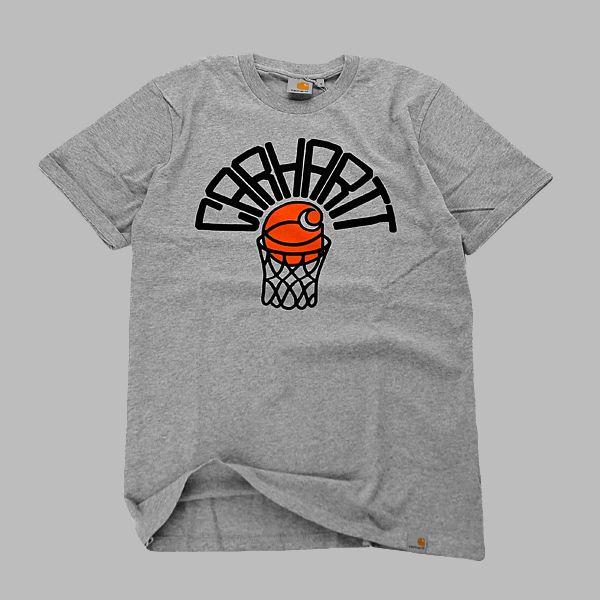 T-Shirt Carhartt ze ściągaczem wokół szyiwkolorze szarego melanżu Duża grafika z przodu artwork Doubleday & Cartwright, metka Carhartt z lewej …
