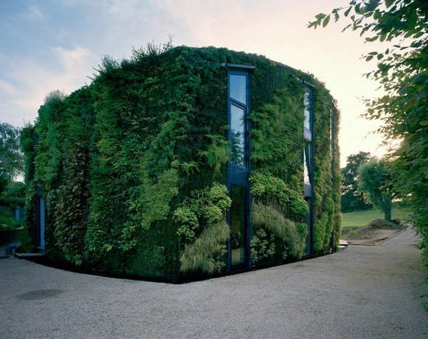 The 'House in the Outskirts of Brussels' by Philippe Samyn and Partners is a single family residence in Belgium. The facade originally was covered with ivy, but botanical artist Patrick Blanc completely covered the wall and roof with a large range of foreign vegetation and exotic plants.