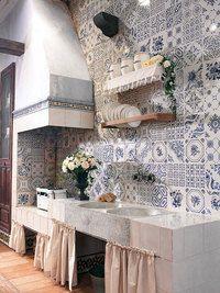 Faience murale bleue style anciens carreaux à l'ancienne Decor Antic 25x50 cm - Faience décorative - As de carreaux